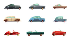 Retro Car Set. Of classic sport and convertible side view models of middle of twentieth century isolated vector illustration Royalty Free Stock Photos