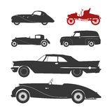 Retro car silhouette Stock Photos