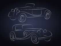 Retro Car Silhouettes In Front Stock Photos