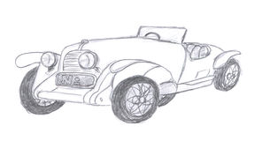 Retro car sketch Stock Photography