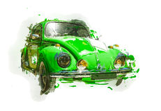 Retro car sketch. Isolated. Contains clipping path Royalty Free Stock Photo