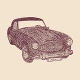 Retro car sketch vector illustration Stock Image