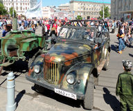 Retro car soviet military jeep UAZ-69 and army food truck Royalty Free Stock Image