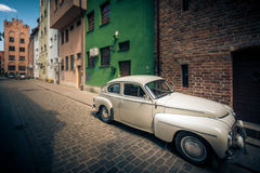 Retro car in street of Gdansk, Poland, Europe. Stock Image