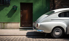 Retro car in street of Gdansk, Poland, Europe. Royalty Free Stock Photo
