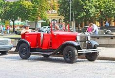Retro car on the street in Lviv, Ukraine stock image