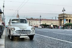 Retro car on the street of St. Petersburg moskvich 407 stock image