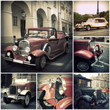Retro car on the streets of Prague. Classic Vintage Vehicles Stock Images