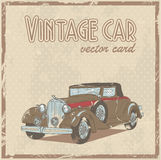 Retro car stylish vintage postcard Stock Photography