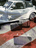 Retro car and suitcase. S, american vintage styled background Stock Image