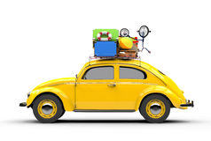 Retro car with suitcases on a white background, palm behind. 3d illustration Royalty Free Stock Photo