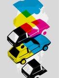 Retro Car typographic vintage style background. Vector illustration. Stock Photo