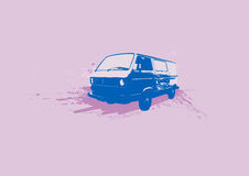 Retro Car. Vector. Retro illustration of old stylish Volkswagen Transporter. Vector Vector Illustration
