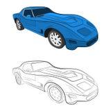 Retro car vector drawing illustration stock photos