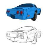 Retro car vector drawing illustration stock photo