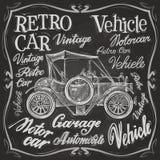 Retro car vector logo design template.  vehicle. Retro car on a black background. vector illustration Stock Photos