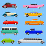 Retro car vehicle transport collection retro old fashion style vector illustration. Retro cars icons vintage vector. Classic transportation auto nostalgia old Royalty Free Stock Photography