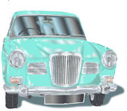 Retro car. Retro vintage car in light green color without background Royalty Free Stock Photos