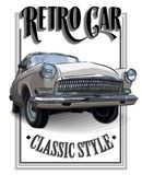 Retro car or Vintage on a white background. Poster Royalty Free Stock Images