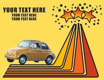 Retro car wallpaper. Retro wallpaper with old fiat and stars Stock Photos