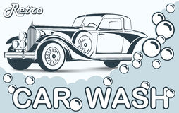 Retro Car wash. Abstract Lines Logo. Vector illustration Stock Photos