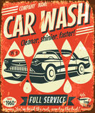 Retro car wash sign. Vector illustration stock illustration
