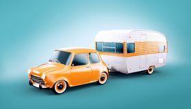 Retro car with white trailer. Unusual 3d illustration of a classic caravan. Camping and traveling concept vector illustration