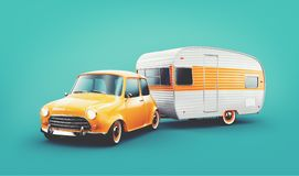 Retro car with white trailer. Unusual 3d illustration of a classic caravan. Camping and traveling concept. Retro car with white trailer. Unusual 3d illustration royalty free illustration