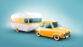 Retro car with white trailer. Unusual 3d illustration of a classic caravan. Camping and traveling concept royalty free illustration