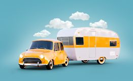 Retro car with white trailer. Unusual 3d illustration of a classic caravan. Camping and traveling concept stock illustration