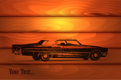 Retro car on wooden background Stock Photos