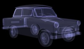 Retro car. X-ray render Stock Photos