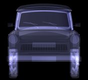 Retro car. X-ray render Royalty Free Stock Photos