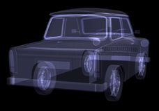 Retro car. X-ray render Stock Photo