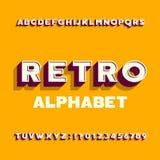 Retro carattere astratto di alfabeto lettere, numeri e simboli di effetto 3D con ombra illustrazione vettoriale