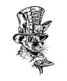 Retro carattere della lepre del black&white disegnato a mano Immagine Stock