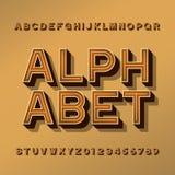 Retro carattere di alfabeto lettere, numeri e simboli di effetto 3D con ombra illustrazione vettoriale