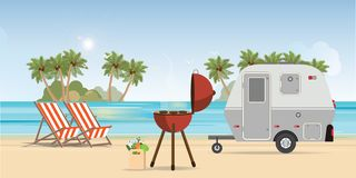 Retro caravan on the beach and picnic with outdoor barbecue. Summer vacation,holiday trip in motorhome vector illustration stock illustration