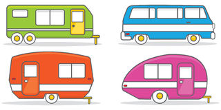 Retro caravan mobile home illustration vector Stock Photos