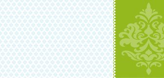 Retro card. With ornament green and blue Stock Photo