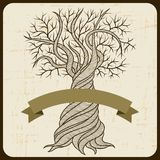 Retro card with abstract curling tree Royalty Free Stock Images