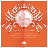 Retro card with bakery logo label Royalty Free Stock Photos