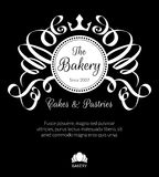 Retro card with bakery logo label Stock Photography