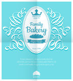 Retro card with bakery logo label Royalty Free Stock Image