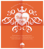 Retro card with bakery logo label Stock Images