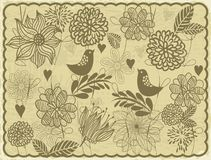 Retro card with birds and flowers invector  Stock Image