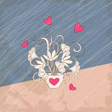 Retro card bouquet flowers in the cup with hearts. Vintage card with hand drawn bouquet with hearts in retro style for greeting valentine card, invitation at Stock Photography