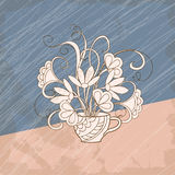 Retro card bouquet flowers in the cup. Vintage card with hand drawn bouquet in the cup in retro style for greeting  card, invitation at romantic holidays, tea Royalty Free Stock Image