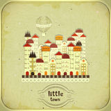 Retro card - cartoon little town Royalty Free Stock Photo
