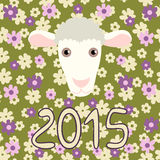 Retro card with cartoon sheep and flowers for. Christmas and New Year 2015, year of the Sheep, symbol of a Chinese zodiac Royalty Free Stock Photos